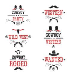 set of cowboy labels and western symbols vector image