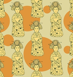 Sketch Japanese doll in vintage style vector image vector image