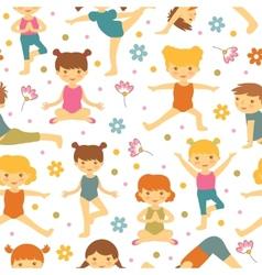Cute yoga kids seamless pattern vector image vector image