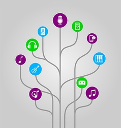 Icon tree - music media and audio vector image