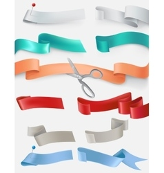 set of satin ribbons in different colors vector image