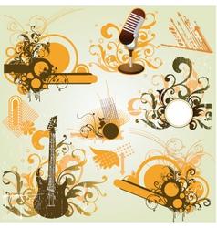 vintage retro music elements vector image vector image