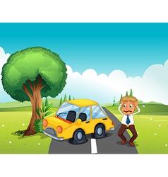 A car bumping the tree at the road vector