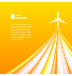 Airplane over orange background vector image