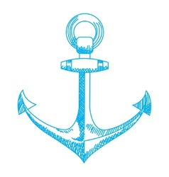 Anchor icon Nautical isolated white blue vector