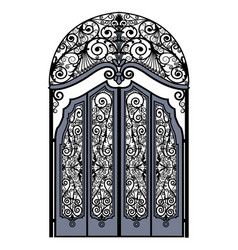 Arched vintage gate vector