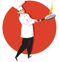 Asian chef cooking vector image