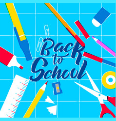 back to school class supplies on study table vector image