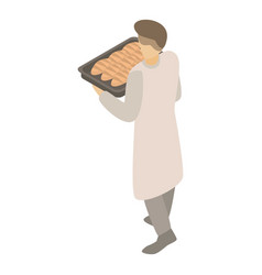 Bakery man with tray icon isometric style vector