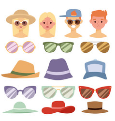 beach accessories summer hats people avatars vector image