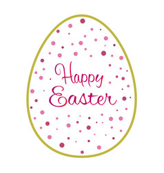 beautiful golden outline easter egg with pink dots vector image vector image