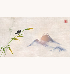 Bird sitting on bamboo tree and far blue mountains vector