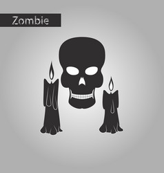 black and white style icon of candle skull vector image