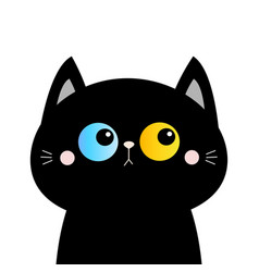 black cat head face silhouette blue yellow eyes vector image