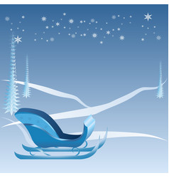 Blue christmas with sleigh vector