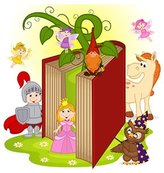 Book with characters from fairy tales vector