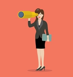 Business woman search in business strategy vector