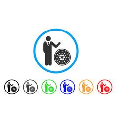 Businessman show cardano coin rounded icon vector