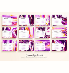 Calendar design for 2019 set of 12 calendar pages vector