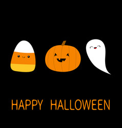 candy corn pumpkin ghost spirit with face cute vector image