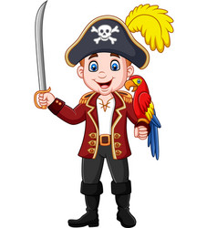 cartoon pirate captain holding sword with macaw bi vector image