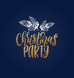 christmas party lettering with hand drawn vector image