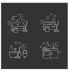 Cleaning services chalk icons set vector