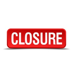 closure red three-dimensional square button vector image