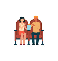 couple sitting in cinema and eating popcorn vector image