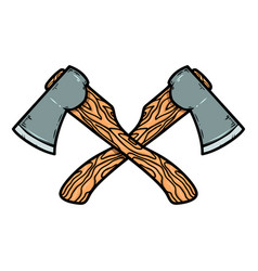 crossed axes isolated on white background design vector image