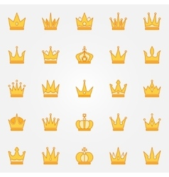 Crown yellow icons vector image