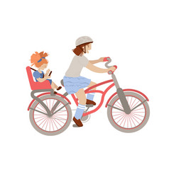 Cute pre-teen or teenager girl riding a bicycle vector