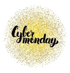 Cyber Monday Lettering over Gold vector image