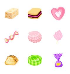 delicious candy icon set cartoon style vector image