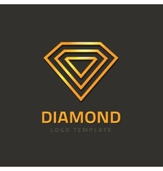 Diamond logotype golden jewel logo concept vector image