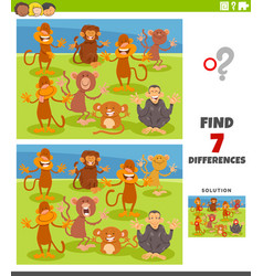 Differences educational task with cartoon monkeys vector