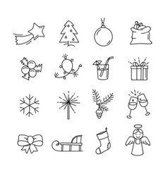 doodle christmas elements clipart isolated on vector image