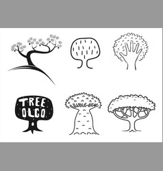 emblem set tree icon vector image