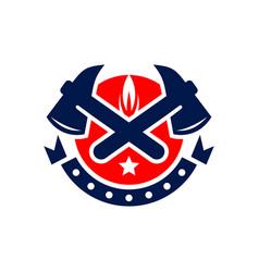 firefighter shield logo vector image