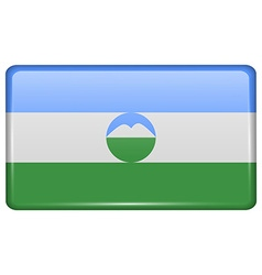 Flags KabardinoBalkaria in the form of a magnet on vector
