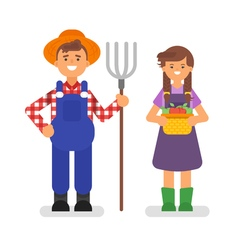 flat style of farmers vector image