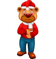 funny bear wear red sweater cartoon vector image