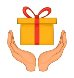 Gift box in hands icon cartoon style vector image