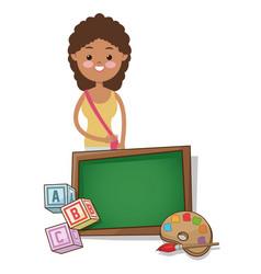 girl student school board palette alphabet cube vector image