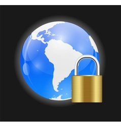 Globe Icon with Protection Lock vector