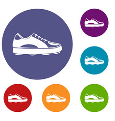Golf shoe icons set vector
