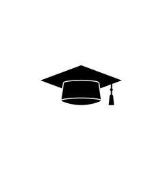 Graduation cap solid icon education high school vector