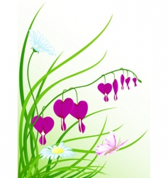 green grass flowers and butterfly vector image