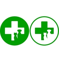 green veterinary icons vector image