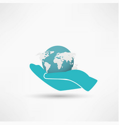 Hands holding a blue earth vector